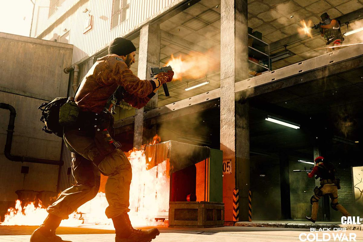 Call of Duty: Warzone's Rebirth Island map, with a soldier standing in front of a building, aiming at another soldier