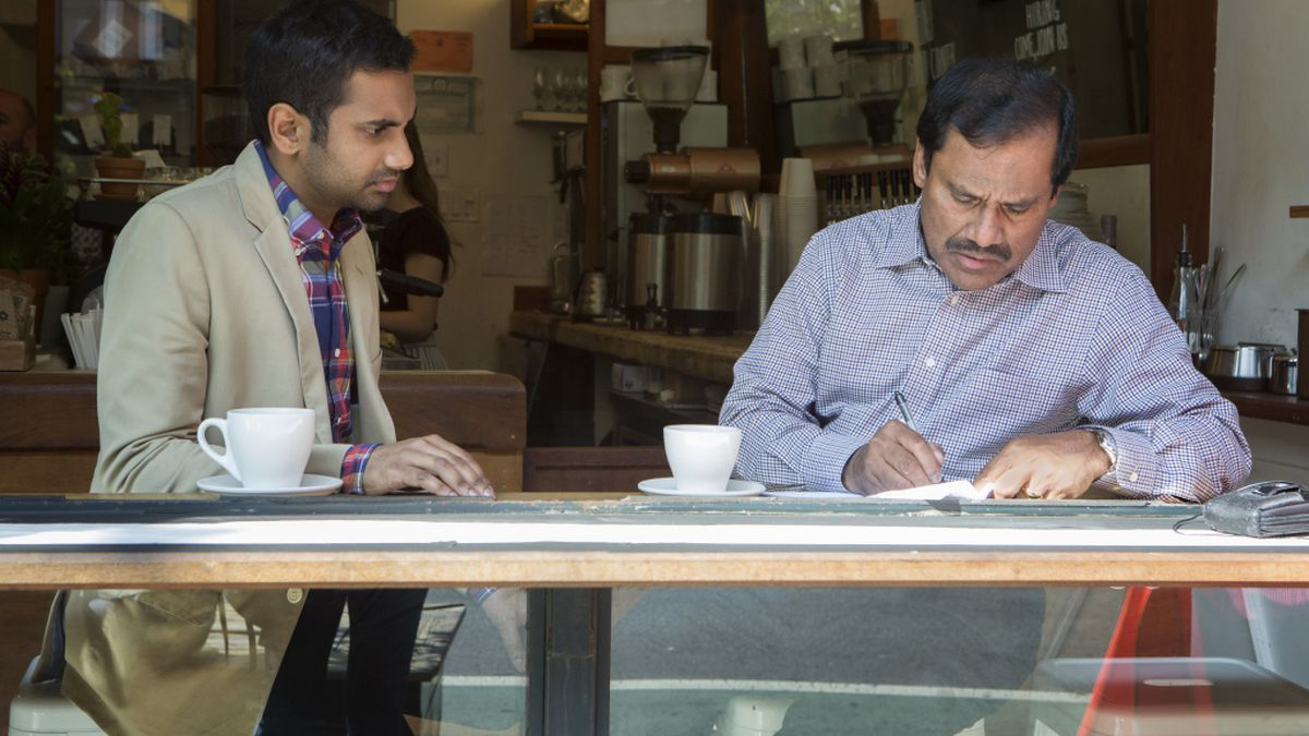 Dev (Aziz Ansari) and his father (Shoukath Ansari) bond over their divide.