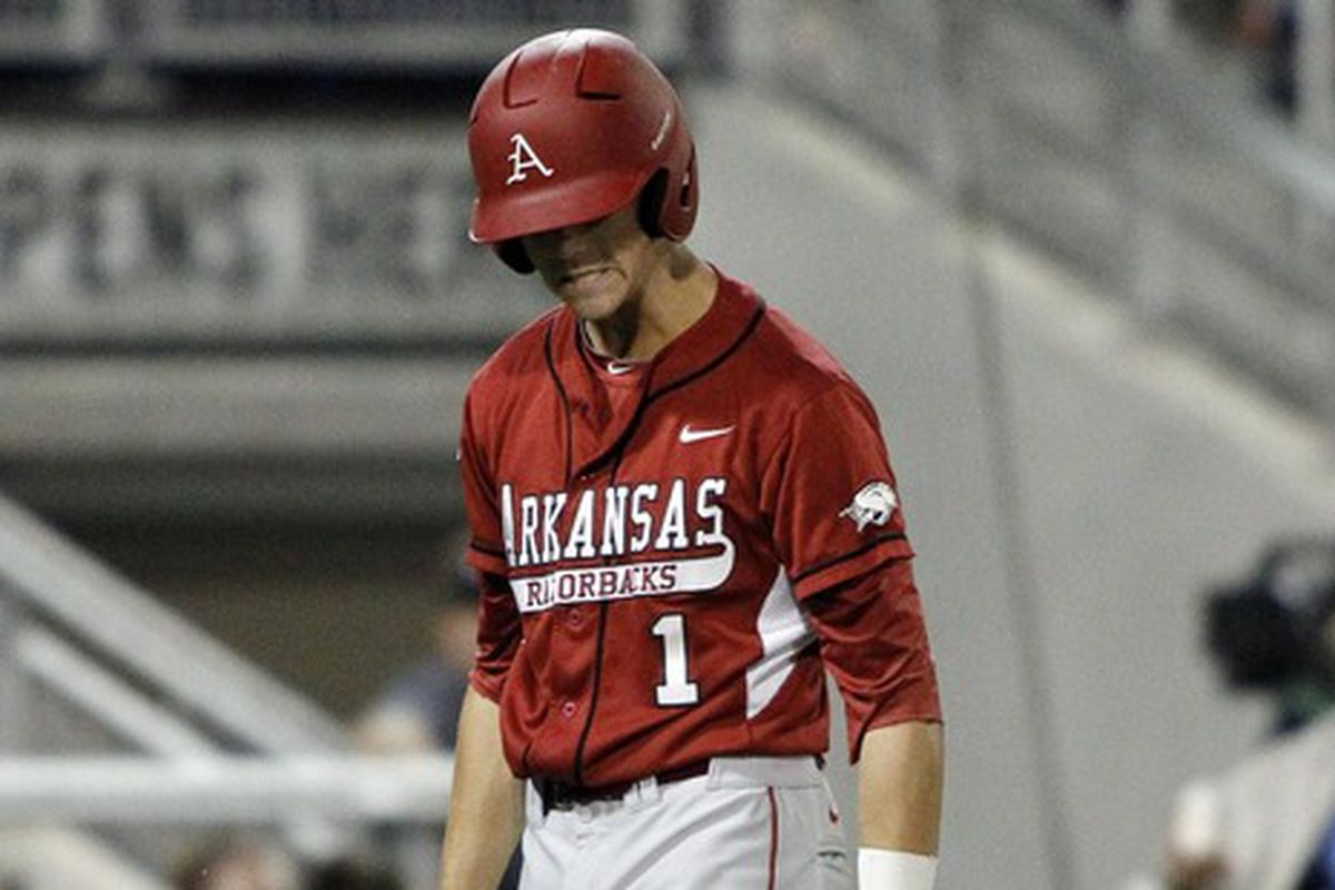 Brian Anderson, seen here in a game last year, couldn't push Arkansas past Auburn despite his three hits