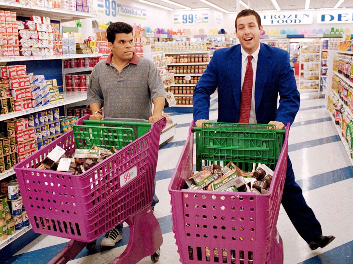Adam Sandler dances in a grocery store aisle in Punch-Drunk Love.