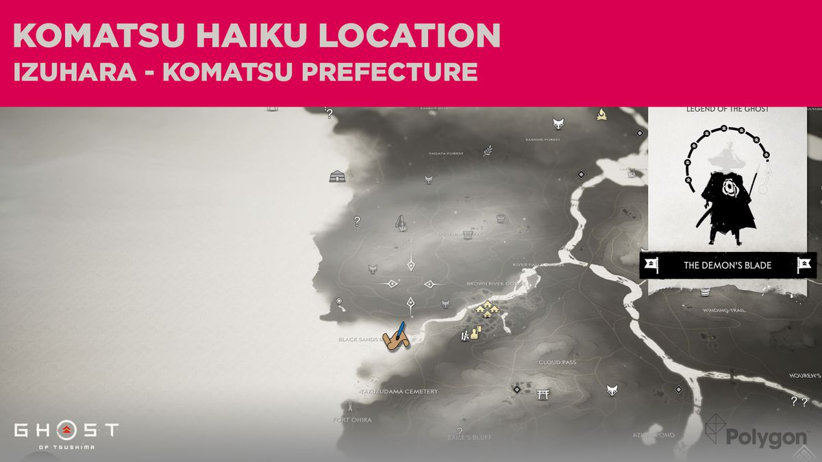 The Komatsu haiku location in Ghost of Tsushima
