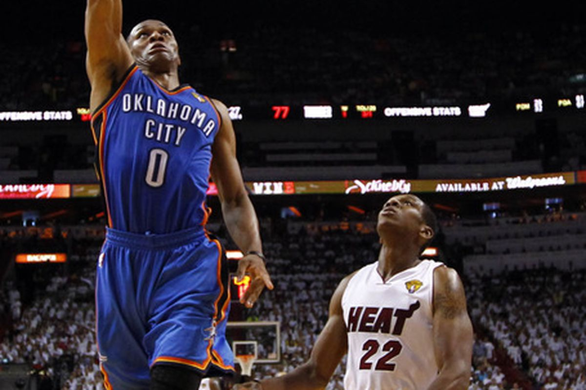 C'mon Russ, have another ridiculous game. You can do it. Mandatory Credit: Mike Ehrmann/Pool Photo via US PRESSWIRE