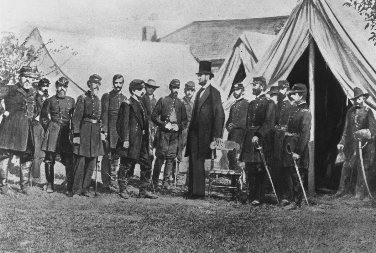 October 1862: President Abraham Lincoln visiting soldiers encamped at the Civil War battlefield of Antietam in Maryland. It was one of the bloodiest in the whole American Civil War.