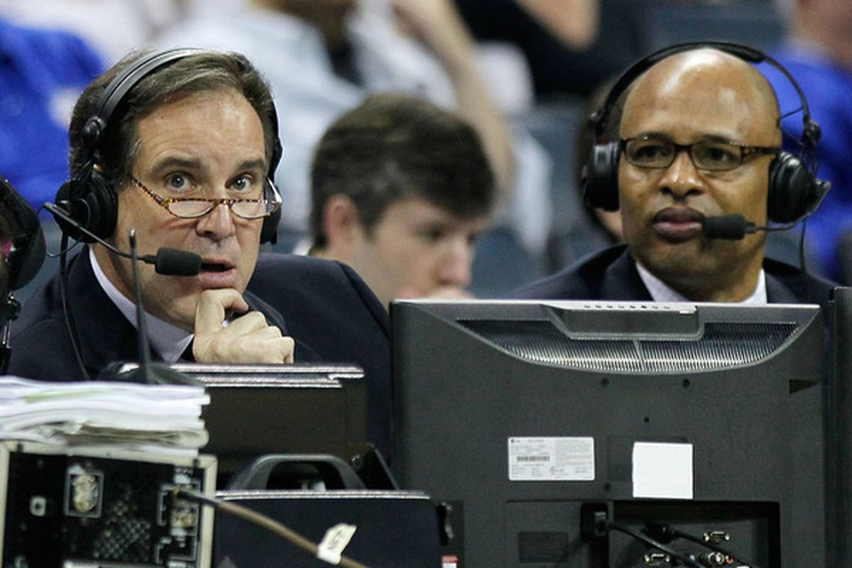 The only place Jim Nantz would rather be than Butler Cabin is at River Hills on April 20th. (Photo by Kevin C. Cox/Getty Images)