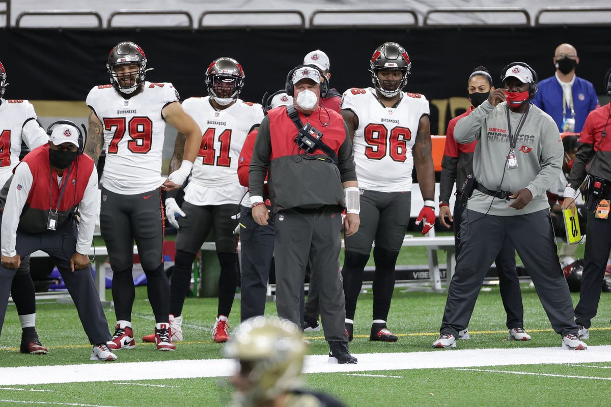 Tampa Bay Buccaneers head coach Bruce Arians during the first quarter in a NFC Divisional Round playoff game against the New Orleans Saints at Mercedes-Benz Superdome.