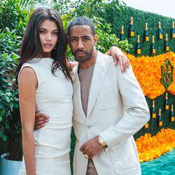Model Daniela Braga color-coordinates with boyfriend Ryan Leslie.