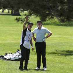 Preston Summerhays gets some advice about hitting over a tree from his caddie, Boyd Summerhays, who is also his father as they play in the Utah Championship golf tournament on the Korn Ferry Tour at Oakridge Country Club in Farmington on Thursday, June 25, 2020.