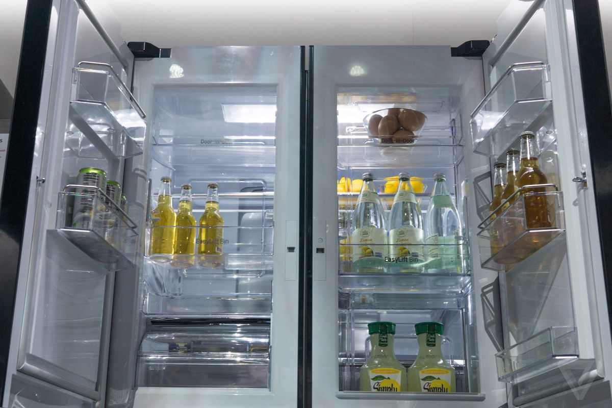 unusual refrigerator lg double door. Easily the most excessive appliance innovation that s on show at LG booth  is a refrigerator with six doors two of which are hidden behind other makes even normal appliances seem weird CES 2015 The Verge