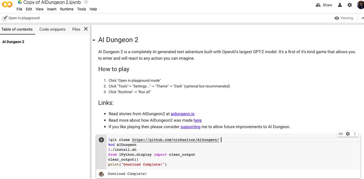 AI Dungeon 2 landing page.