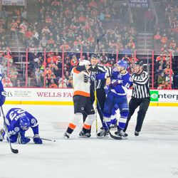 Tension runs high after Wayne Simmonds takes out J.T. Brown mid-ice during the third period.