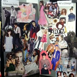 """Another display from the color theory station. Fashion's current trend hybrids: '50s """"Glamma-billy"""" and '90s """"Glunge"""""""
