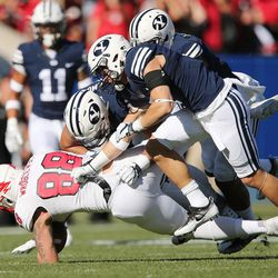 The Brigham Young Cougars defense tackle Southern Utah Thunderbirds tight end Steven Wroblewski (88)  in Provo on Saturday, Nov. 12, 2016.
