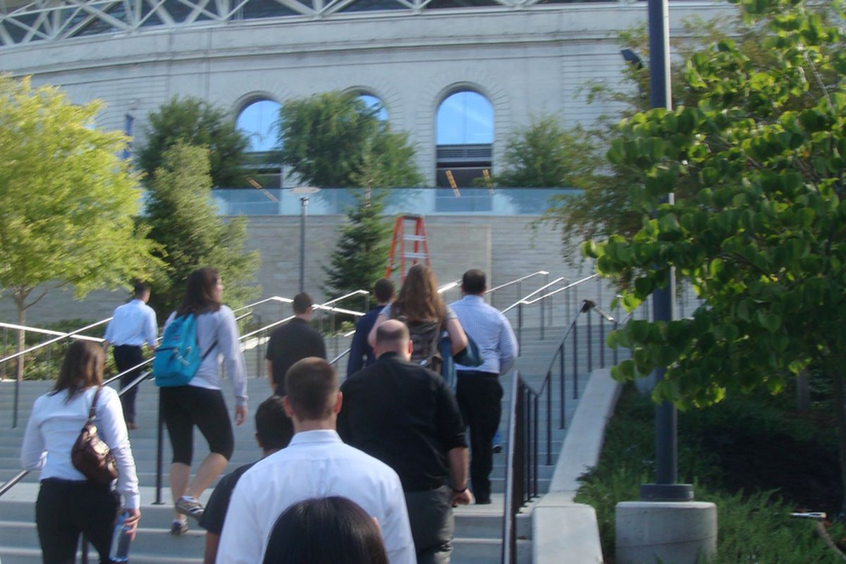 Trudging up the steps to Memorial