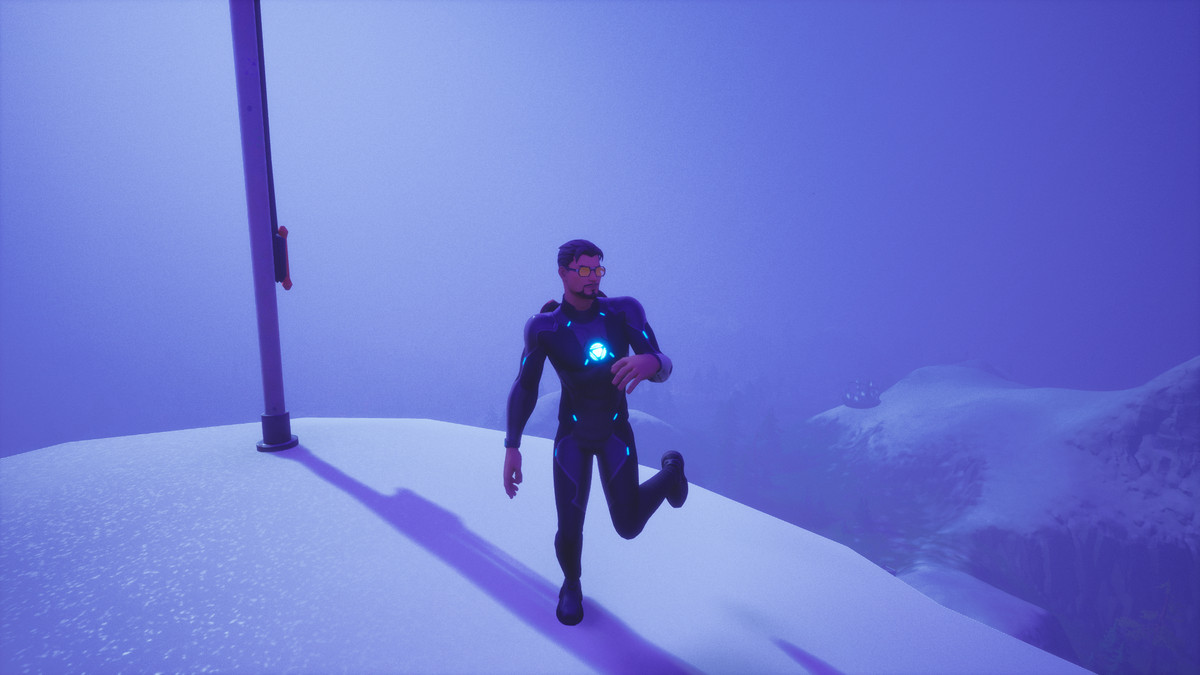 Tony Stark in Fortnite dancing on top of a mountain
