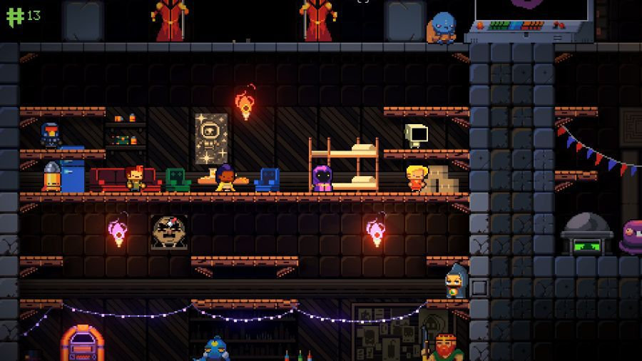 The character select screen in Exit the Gungeon, a spin-off of Enter the Gungeon