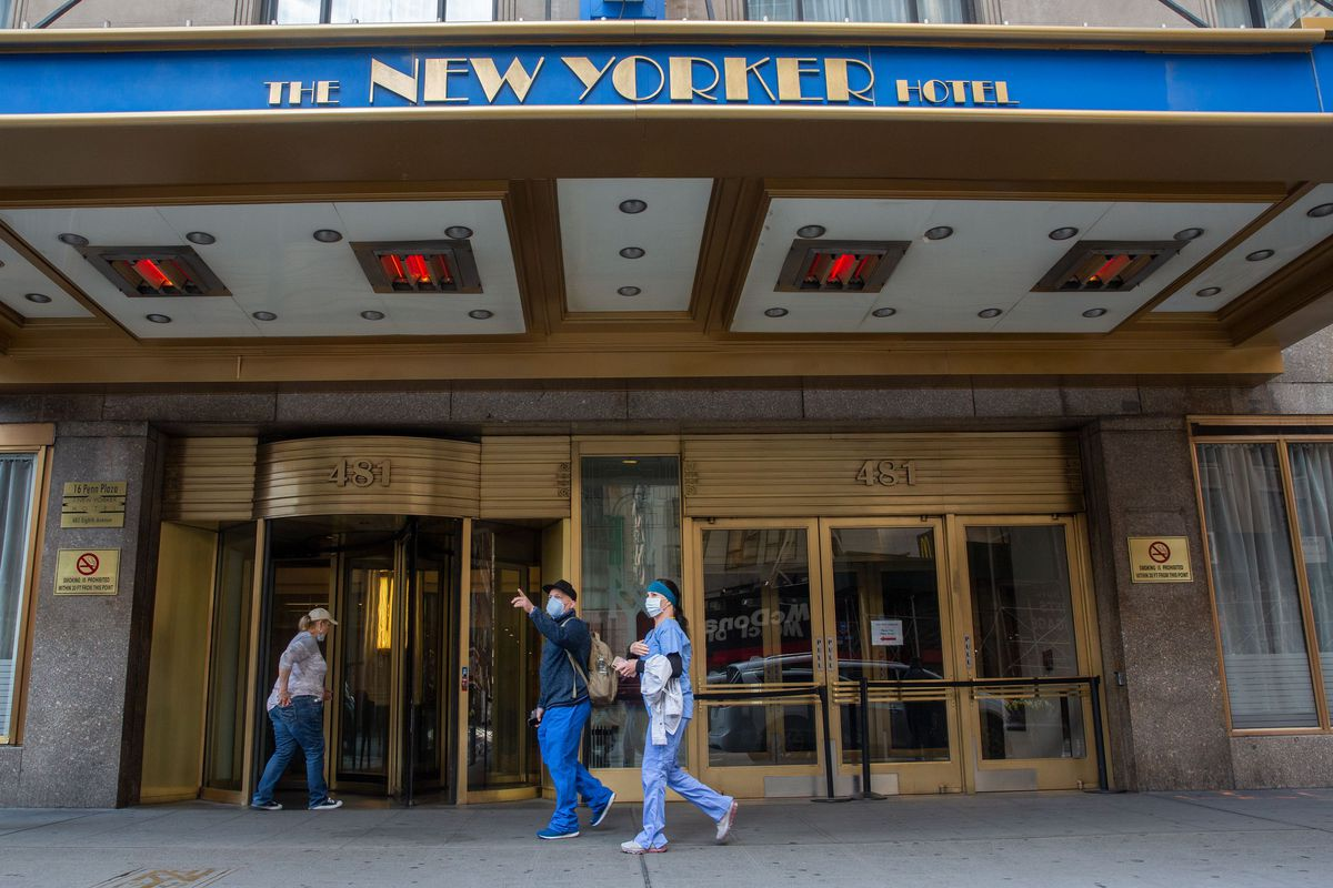 Healthcare volunteers have been staying at the New Yorker Hotel in Midtown.