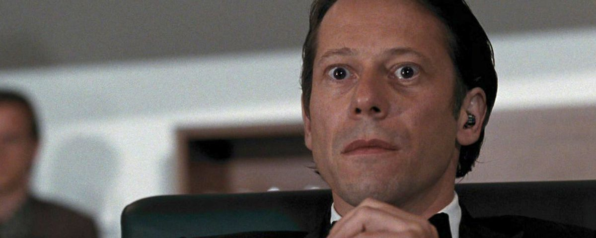 Quantum of Solace villain Dominic Greene (Mathieu Amalric) has big eyes at the theater