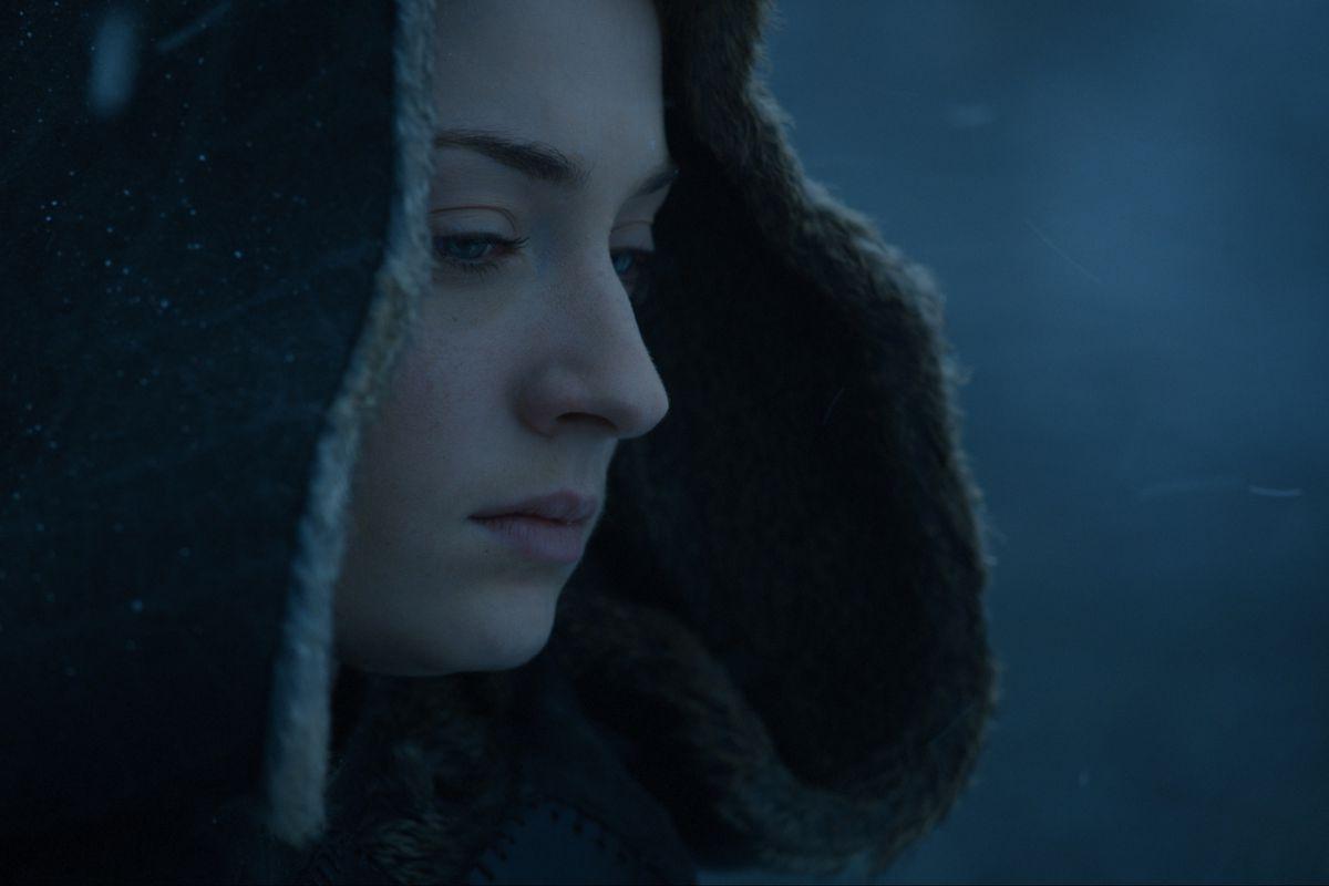 Sophie Turner as Sansa Stark in Game of Thrones season seven, episode seven