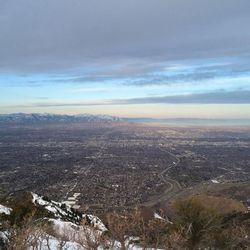 The view from Grandeur Peak at 7:30 a.m. Saturday.