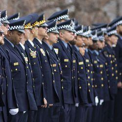 Hundreds of police officers attended the funeral for Chicago Police Officer John P. Rivera. | Ashlee Rezin/Sun-Times