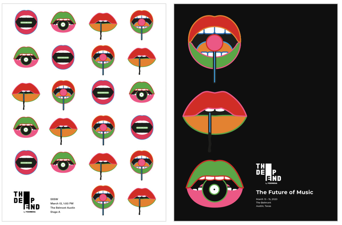 Posters with series of mouths holding objects that represent the Vox Media networks