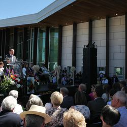 Gov. Gary Herbert speaks at the dedication of the Beverley Taylor Sorenson Center for the Arts in Cedar City on July 7, 2016.