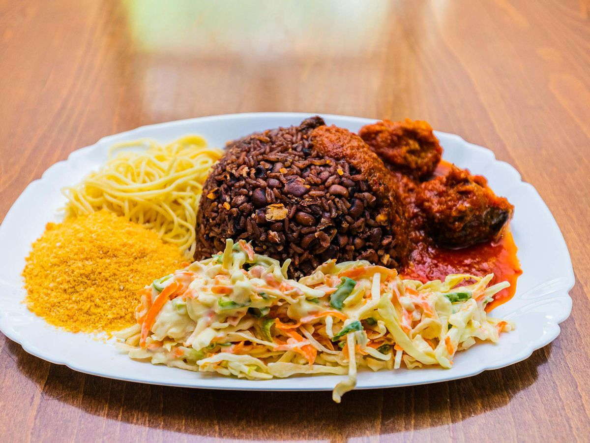 A platter of Ghanaian food at Kate's Cafe