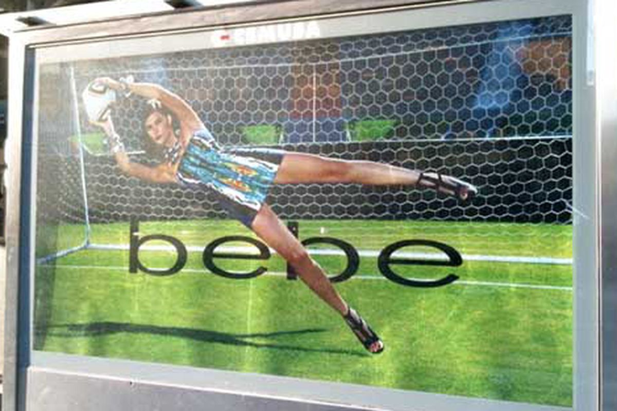 """Bebe's salute to the World Cup and Photoshop via <a href=""""http://copyranter.blogspot.com/2010/06/bebe-unofficial-ugly-slutty-dress-of.html"""">Copyranter</a>"""