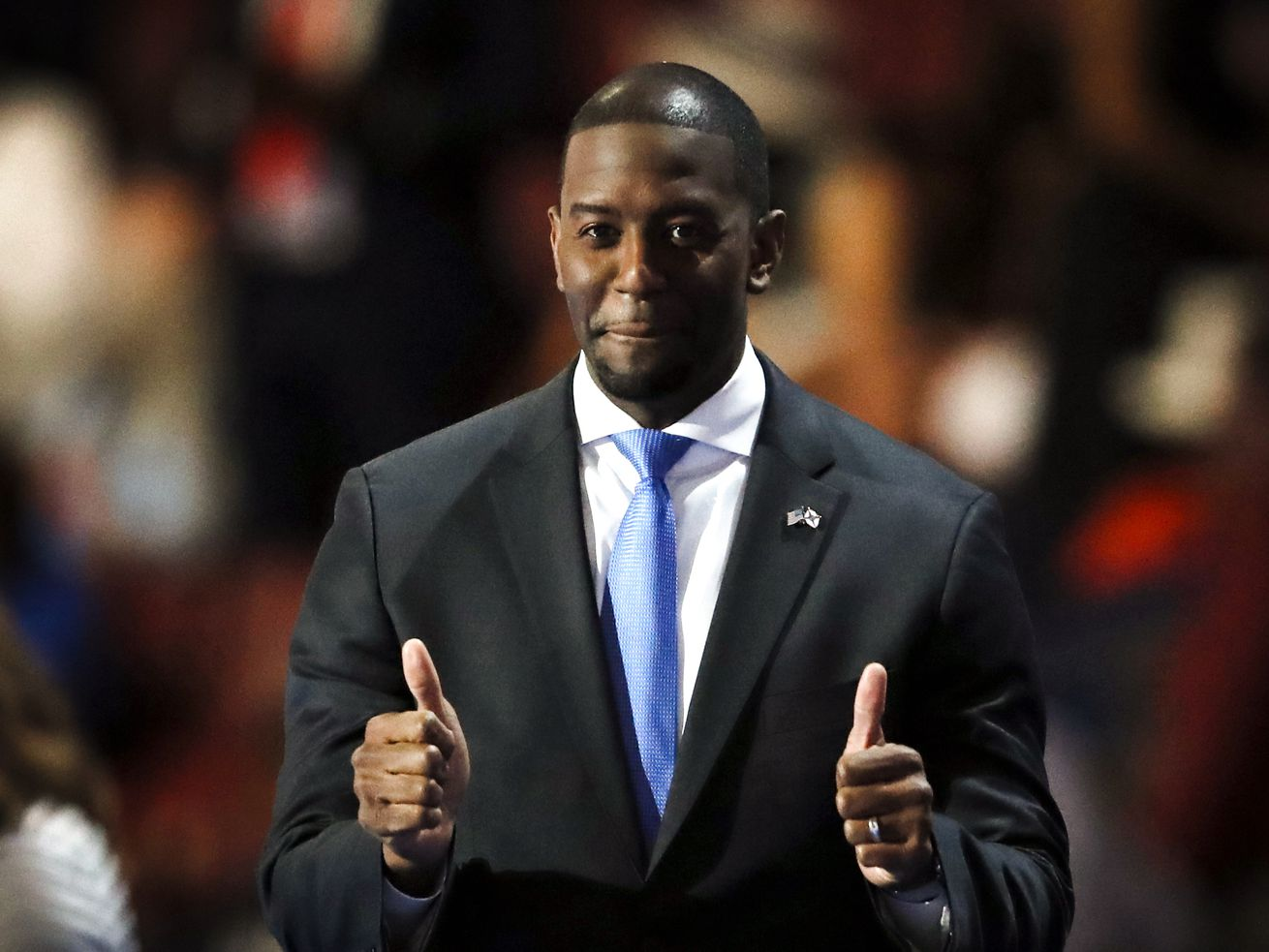 Tallahassee Mayor Andrew Gillum speaking during the third day of the Democratic National Convention in Philadelphia on July 27, 2016.