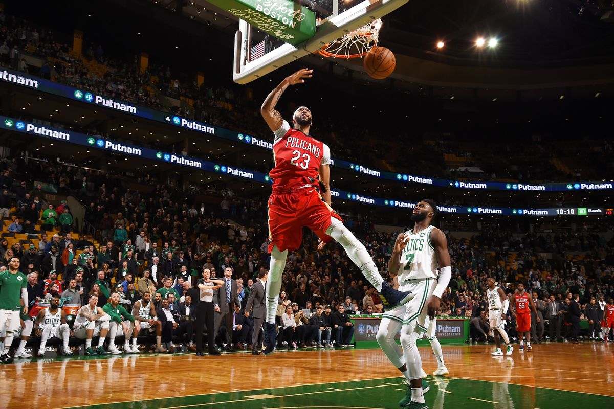 Anthony Davis in the air after shooting