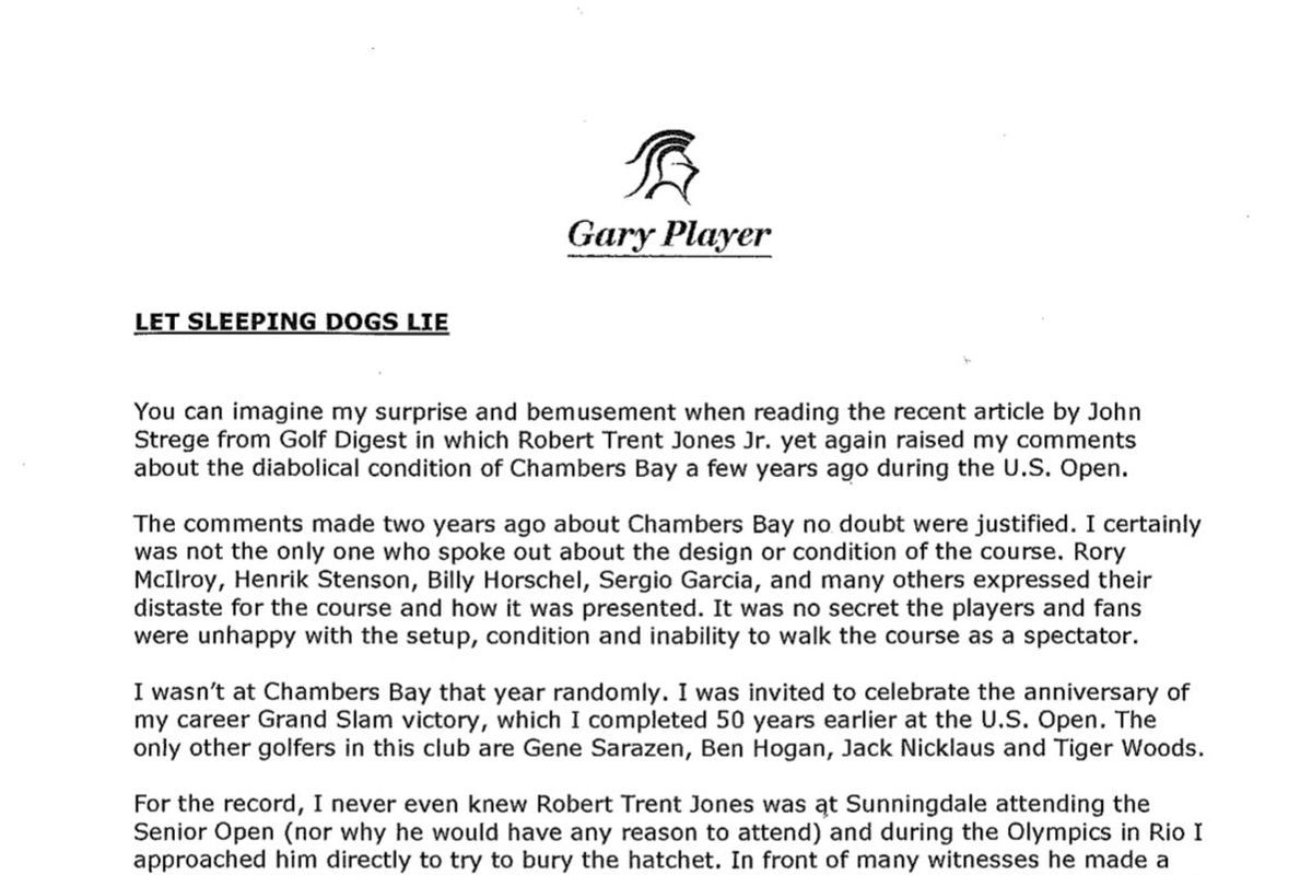 The  Best Parts Of Gary PlayerS Letter Roasting The US Open At