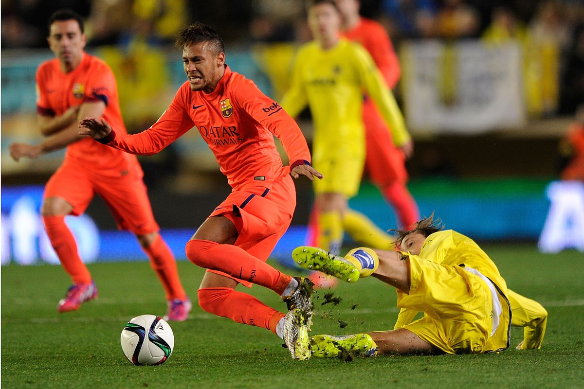 Pina's tackle from behind on Neymar, studs showing, that effectively ended any chance we had in this tie.