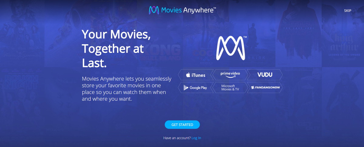 Movies Anywhere welcome page showing Microsoft Movies & TV as a supported service