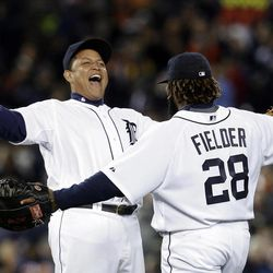 Detroit Tigers' Miguel Cabrera, left, and Prince Fielder (28) celebrate their 5-4 win over the Kansas City Royals in a baseball game in Detroit, Wednesday, Sept. 26, 2012.