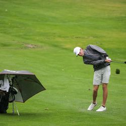 Spanish Fork's Jackson Rhees hits from the fairway at the 5A boys state golf tournament at The Oaks at Spanish Fork in Spanish Fork on Tuesday, Oct. 5, 2021.