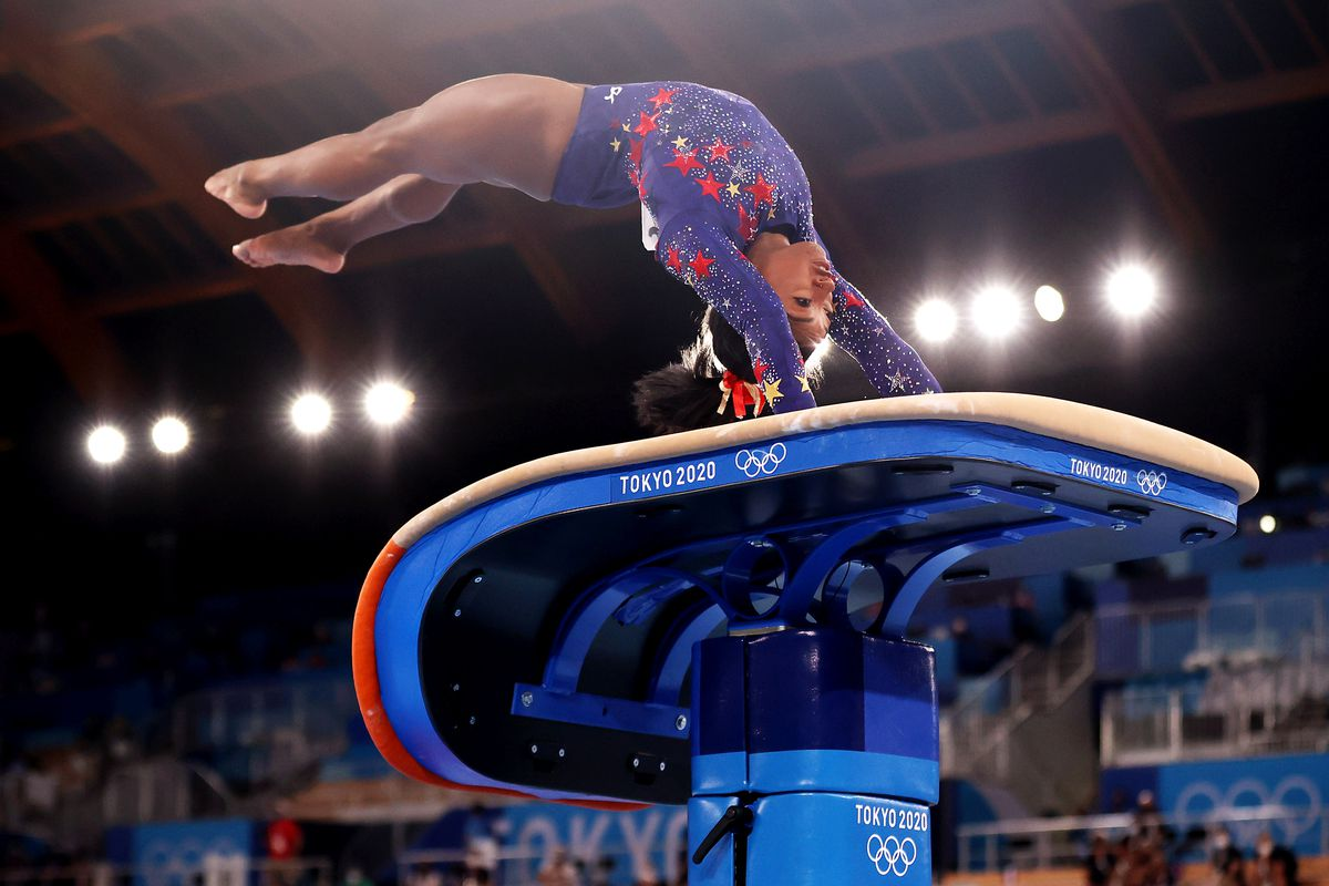 Simone Biles of Team United States competes on vault during Women's Qualification on day two of the Tokyo 2020 Olympic Games at Ariake Gymnastics Centre on July 25, 2021 in Tokyo, Japan.