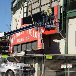 1:33 p.m. The upper portion of the marquee coming down -