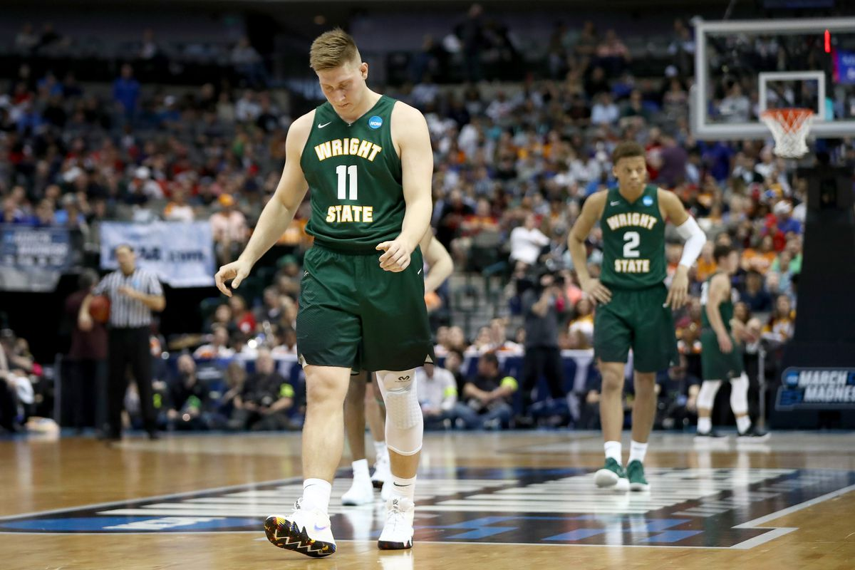 Loudon Love of the Wright State Raiders reacts in the second half while taking on the Tennessee Volunteers in the first round of the 2018 NCAA Men's Basketball Tournament at American Airlines Center on March 15, 2018 in Dallas, Texas.