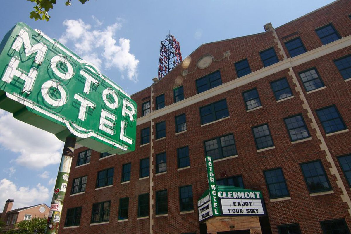 A photo of the formerly seedy Hotel Clermont in Atlanta.