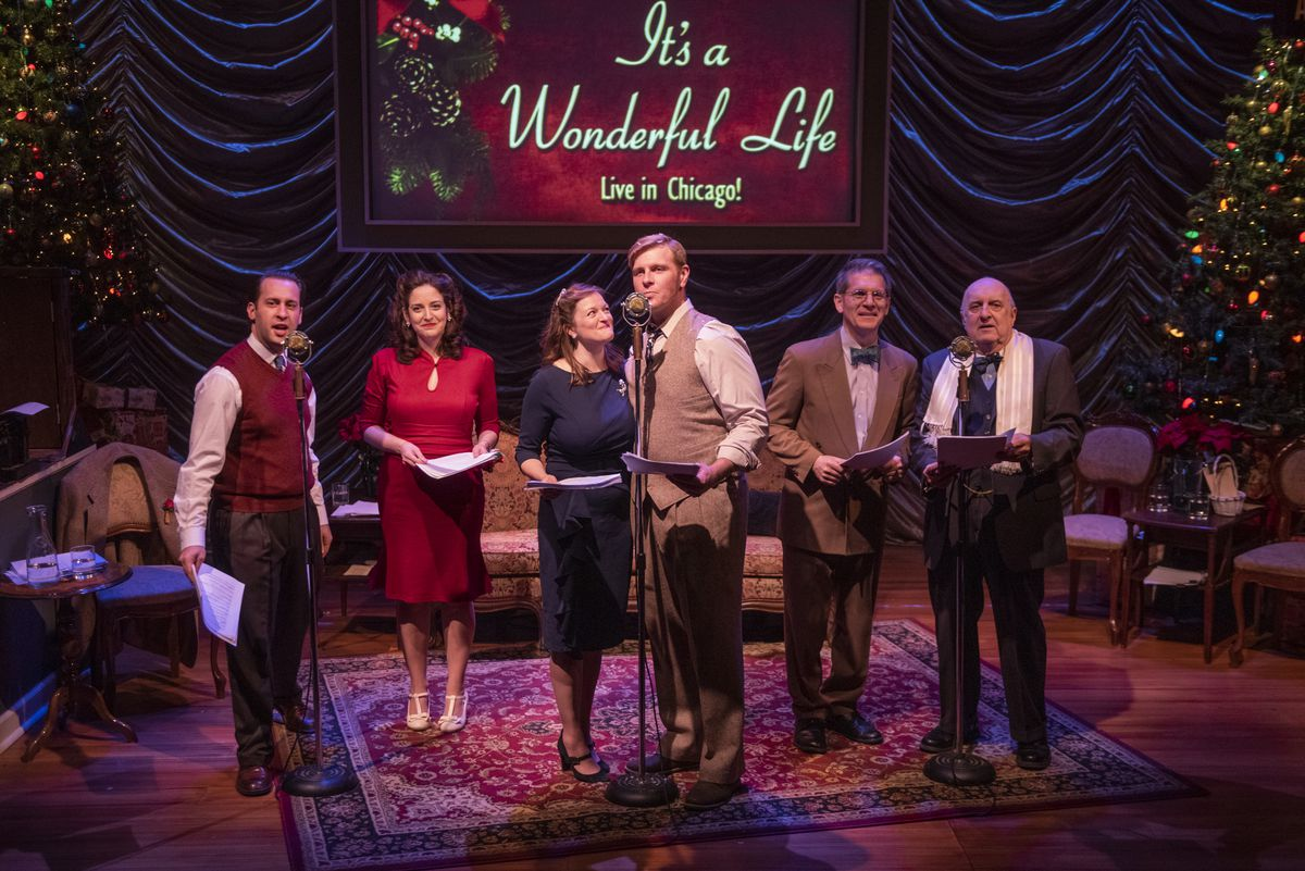 """Ian Paul Custer (from left), Dara Cameron, Gwendolyn Whiteside, Brandon Dahlquist, James Joseph and John Mohrlein are shown in the 2019 production of """"It's a Wonderful Life: Live in Chicago!"""""""