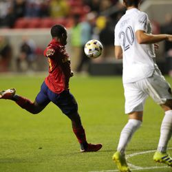 Real Salt Lake midfielder Anderson Julio (29) kicks the game-winning goal as Real Salt Lake and LA Galaxy play at Rio Tinto Stadium in Sandy on Wednesday, Sept. 29, 2021. RSL won 2-1.