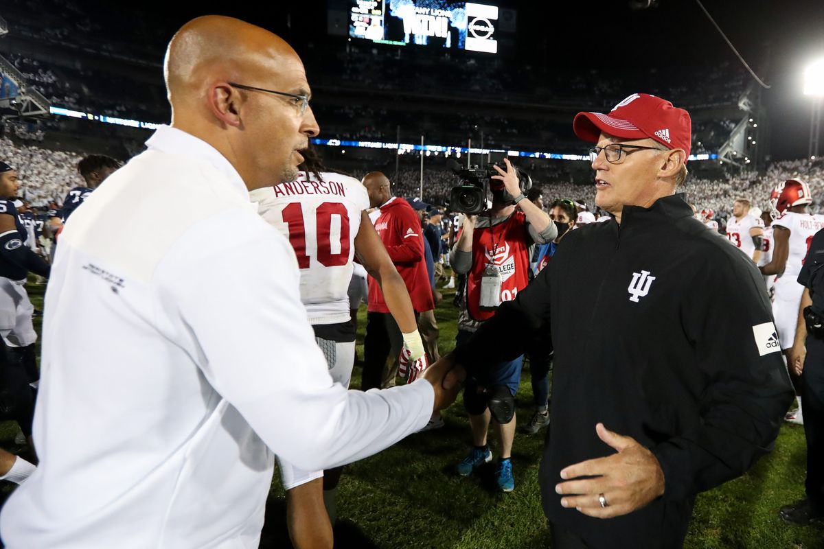 Penn State coach James Franklin shakes Indiana Coach Tom Allen's hand after the game.