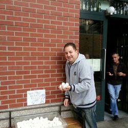 "Chef Josh Capon with the free hard boiled eggs that B & B gave away via <a href=""http://instagram.com/p/RihFBttxc1/"">Instagram/jpickard44</a>."