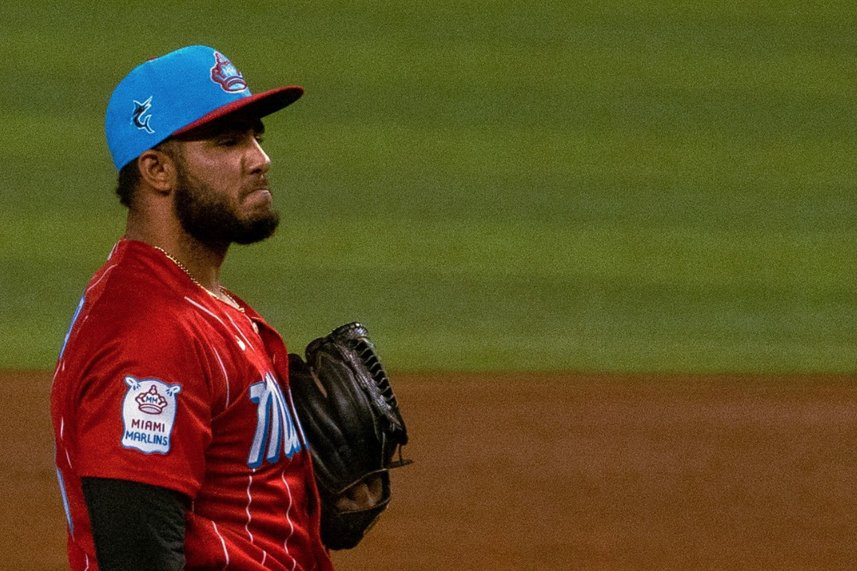 Marlins pitcher Yimi Garcia in the team's City Connect uniform