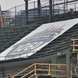 1060 Project banner still on display in center-field bleachers