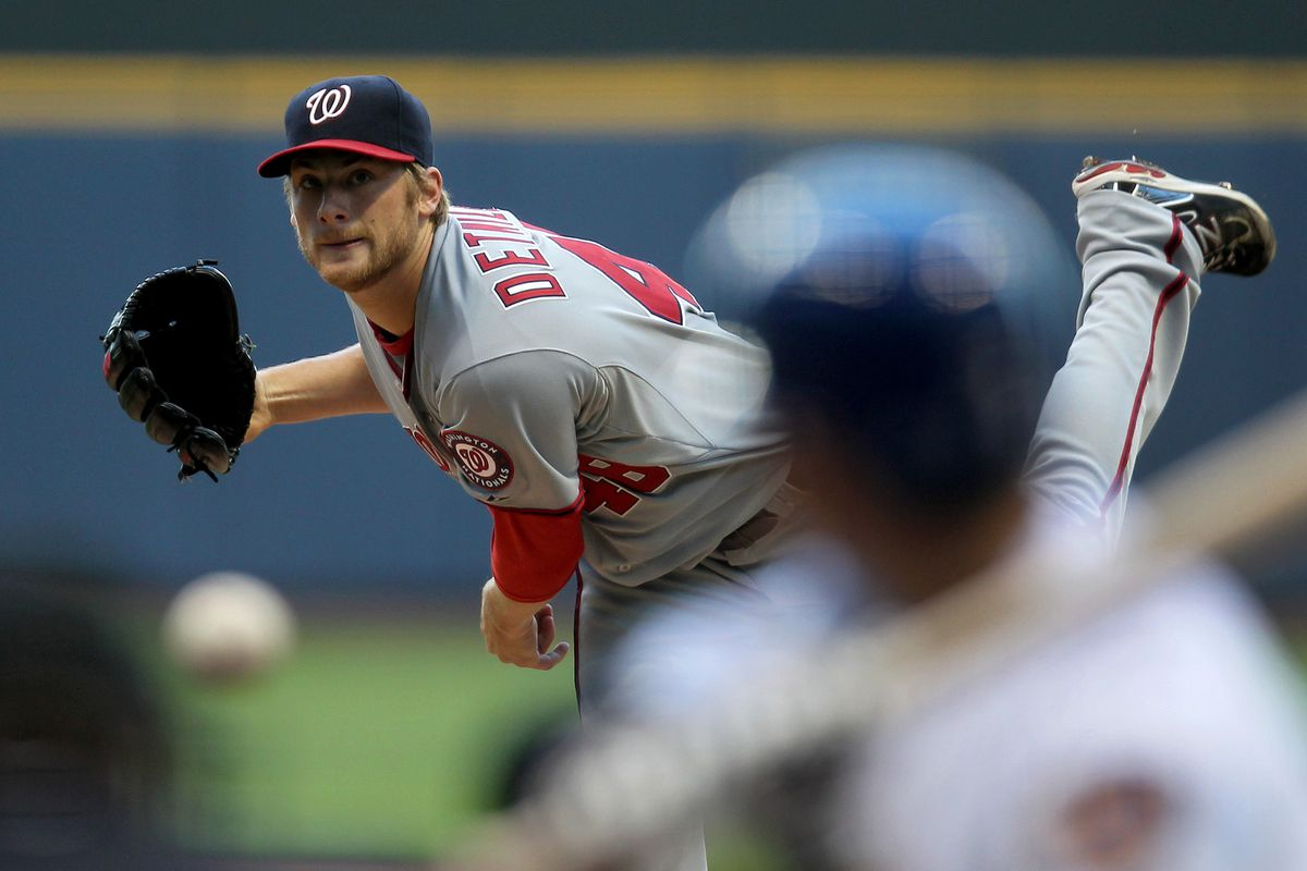 MILWAUKEE, WI - JULY 27: Ross Detwiler #48 of the Washington Nationals pitches against the Milwaukee Brewers during the game at Miller Park on July 27, 2012 in Milwaukee, Wisconsin. (Photo by Mike McGinnis/Getty Images)