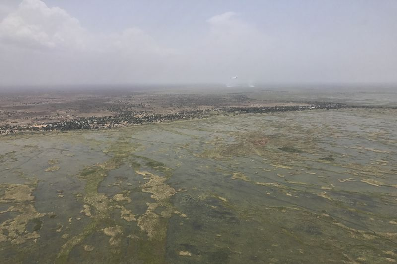 The vast swamps in central South Sudan where people flee to in order to hide from government 'counter-insurgency' raids on their villages. Picture taken from UN helicopter flying over.