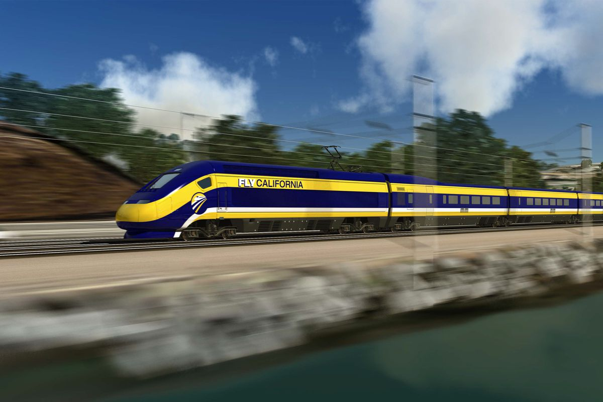 A rendering of a California bullet train.