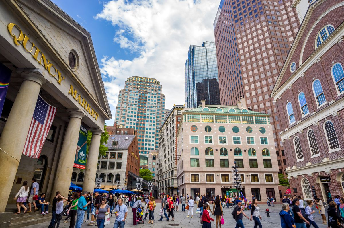Crowds outside of Boston's Quincy Market.