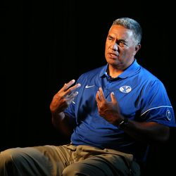 Steve Kaufusi, linebackers coach, answers questions during BYU Football Media Day at BYU Broadcasting in Provo on Friday, June 23, 2017.